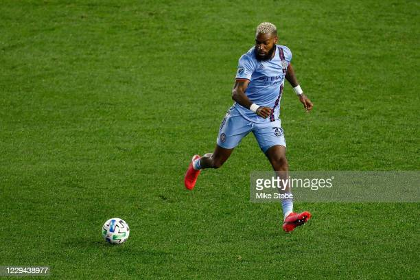 Sebastien Ibeagha of New York City in action against the Montreal Impact at Red Bull Arena on October 24, 2020 in Harrison, New Jersey.
