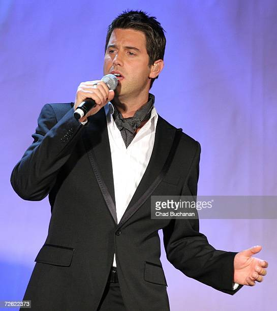 Sebastien Izambard of Il Divo performs at evening with Larry King & friends charity fundraiser at the Beverly Hilton on November 21, 2006 in Beverly...
