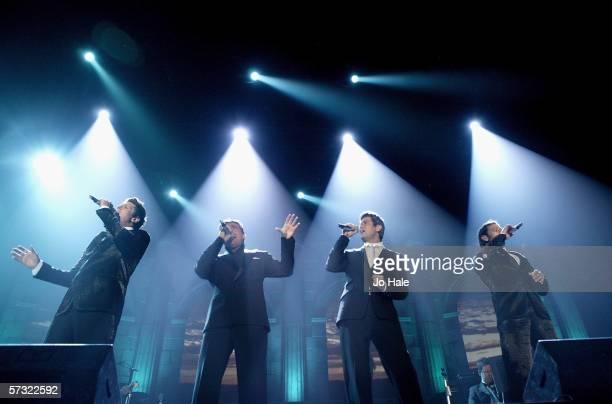 Sebastien Izambard Urs Toni Carlos Marin and David Miller of popera quartet Il Divo perform on stage at the London stop of their UK arena tour...