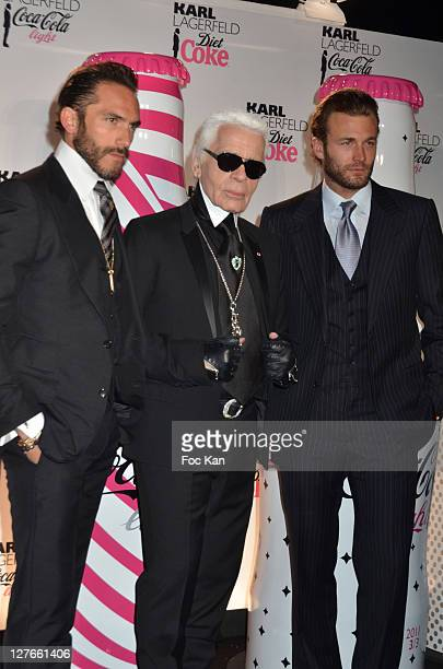 Sebastien Jondeau Karl Lagerfeld and Brad Kroenig attend the CocaCola Light Karl Lagerfeld New Collaboration Celebration Cocktail at Le Georges on...