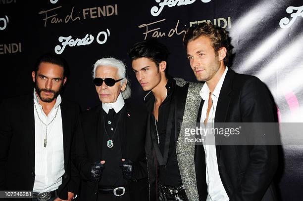 Sebastien Jondeau Karl Lagerfeld Baptiste Giabiconi and Brad Kroenig attend the Fendi 'O For Duran Duran Party Paris Fashion Week Spring/Summer 2011...