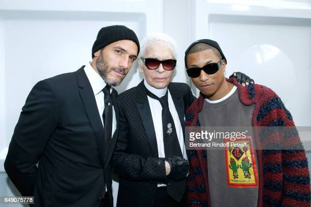 Sebastien Jondeau Stylist Karl Lagerfeld and Pharrell Williams attend the Chanel show as part of the Paris Fashion Week Womenswear Fall/Winter...