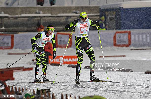 Sebastien Lacroix and Jason Lamy Chappuis of France competes during the FIS Nordic Combined World Cup Team Sprint on December 02 2012 in Kuusamo...
