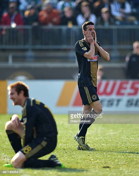 Sebastien Le Toux of Philadelphia Union reacts to a missed goal by Fernando Aristeguieta during the game against the FC Dallas at PPL Park on March...
