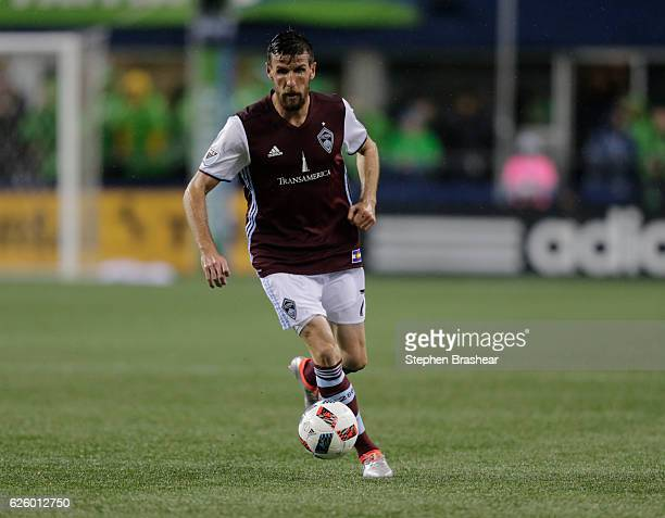 Sebastien Le Toux of the Colorado Rapids dribbles the ball during a match Seattle Sounders in the first leg of the Western Conference Finals at...