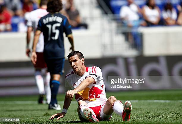 Sebastien Le Toux of the New York Red Bulls gets to his feet during a game against the Philadelphia Union at Red Bull Arena on July 21 2012 in...