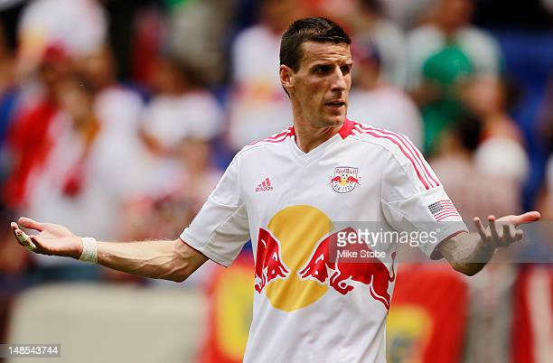 Sebastien Le Toux of the New York Red Bulls looks on against Chicago Fire at Red Bull Arena on July 18 2012 in Harrison New Jersey Red Bulls defeated...