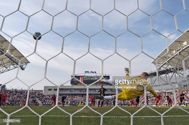 Sebastien Le Toux of the Philadelphia Union beats Stefan Frei of FC Toronto for the game winning goal on a penalty kick at PPL Park on July 17 2010...