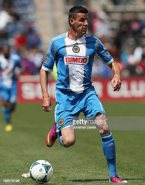 Sebastien Le Toux of the Philadelphia Union brings the ball up the field against Chicago Fire during an MLS match at Toyota Park on May 11 2013 in...