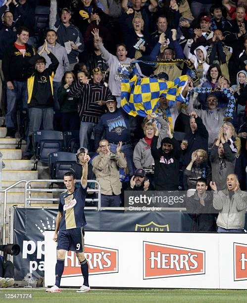 Sebastien Le Toux of the Philadelphia Union reacts after scoring a goal against the Columbus Crew during an MLS soccer game September 17 2011 at PPL...