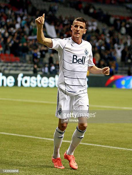 Sebastien Le Toux of the Vancouver Whitecaps FC celebrates after their MLS win against FC Dallas April 21 2012 at BC Place in Vancouver British...