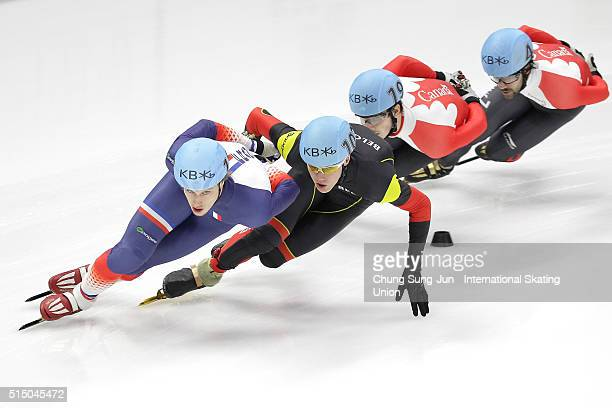 Sebastien Lepape of France Jens Almey of Belgium Charles Hamelin and Samuel Girard of Canada compete in the Men 1500m Semifinals during the ISU World...