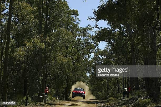 Sebastien Loeb and co-driver Daniel Elena of France compete in their Citroen Xsara during Shakedown for the WRC Telstra Rally Australia on November...