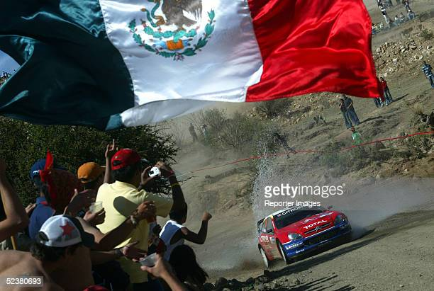 Sebastien Loeb and Daniel Elena of France drive their Citroen Xsara WRC during day two of the Corona Rally Mexico March 12 2005 in Leon Mexico