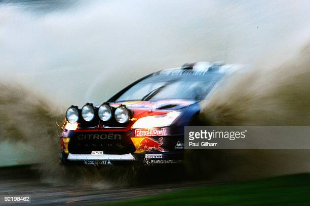 Sebastien Loeb of France and Citroen drives the Citroen C4 WRC during the Shakedown for the Wales Rally GB on October 22, 2009 in Margam Park near...