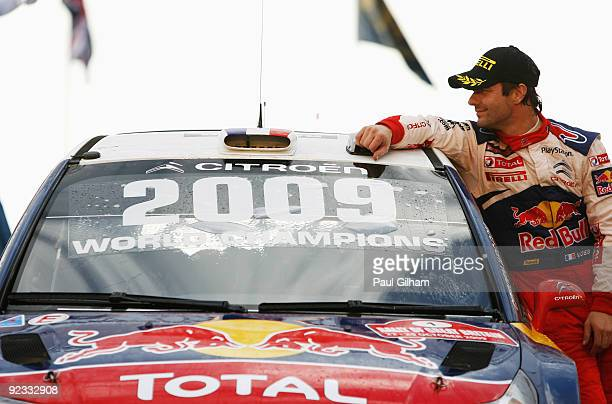 Sebastien Loeb of France and Citroen Total WRT and reflects on winning the World Championship and the Wales Rally GB at Cardiff Bay on October 25...