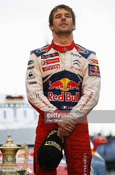 Sebastien Loeb of France and Citroen Total WRT and reflects on winning the World Championship and the Wales Rally GB at Cardiff Bay on October 25,...