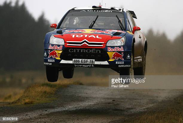 Sebastien Loeb of France and Citroen Total WRT drives the Citroen C4 WRC during stage fifteen of the Wales Rally GB at Port Talbot on October 25 2009...