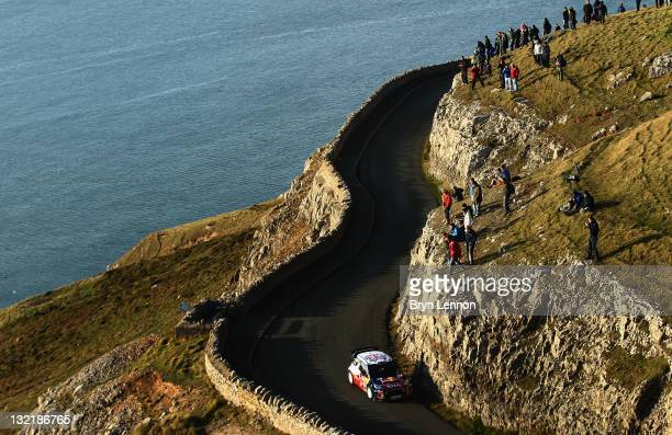 Sebastien Loeb of France and Citroen Total WRT in action during the Great Orme Stage on day one of the FIA World Rally Championship Great Britain on...