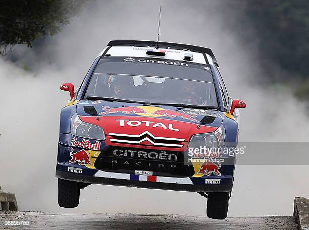Sebastien Loeb of France and codriver Daniel Elena drive their Citroen C4 WRC during stage 2 of the WRC Rally of New Zealand at Waipu on May 7 2010...