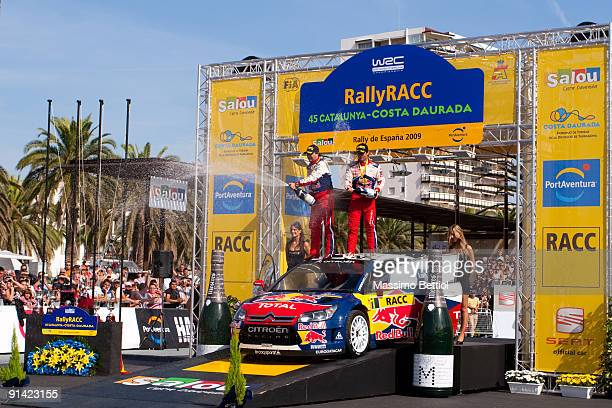 Sebastien Loeb of France and Daniel Elena of Monaco are celebrating their victory at the end of Leg 3 of the WRC Rally de Espana on October 04 2009...
