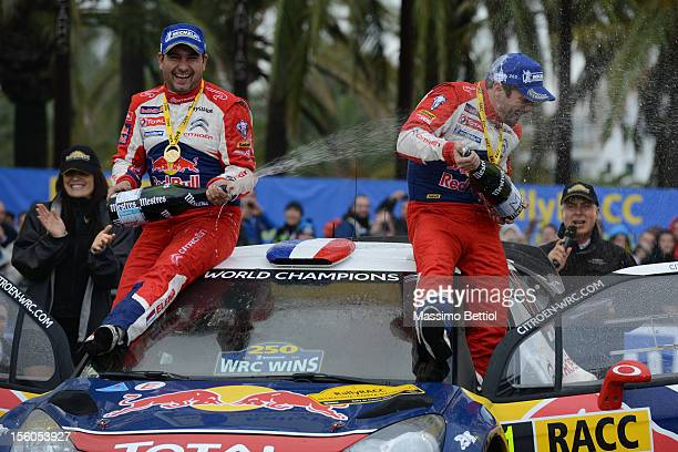 Sebastien Loeb of France and Daniel Elena of Monaco celebrate their victory during Day Three of the WRC Spain on November 11 2012 in Salou Spain