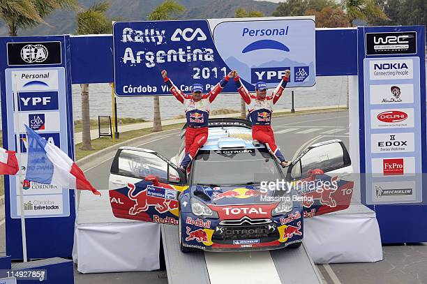 Sebastien Loeb of France and Daniel Elena of Monaco celebrate thir victory during Day3 of the WRC Rally Argentina on May 29 2011 in Villa Carlos Paz...