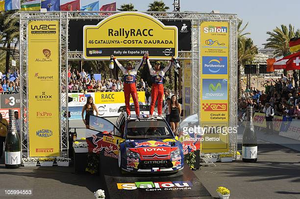 Sebastien Loeb of France and Daniel Elena of Monaco celebrating their victory of the WRC Rally of Spain on October 24, 2010 in Salou, Spain.
