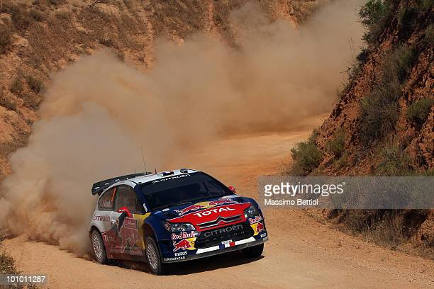 Sebastien Loeb of France and Daniel Elena of Monaco compete in their Citroen C4 Total during the Shakedon of the WRC Rally Portugal on May 27, 2010...
