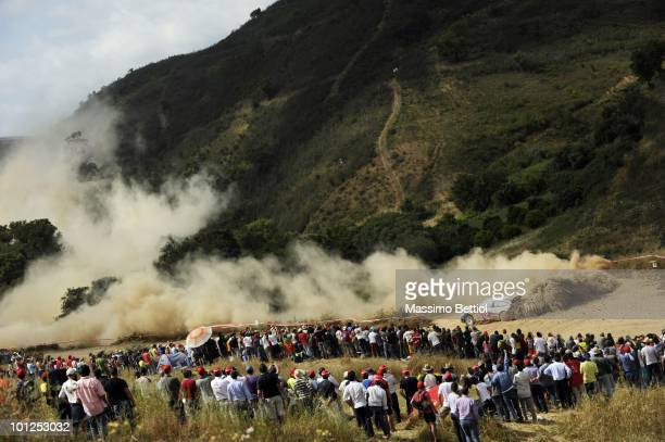 Sebastien Loeb of France and Daniel Elena of Monaco compete in their Citroen C4 Total during Leg1 of the WRC Rally Portugal on May 28 2010 in the...