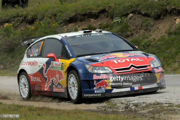 Sebastien Loeb of France and Daniel Elena of Monaco compete in their Citroen C4 Total during Leg 1 of the WRC Rally of Bulgaria on July 9 2010 in...
