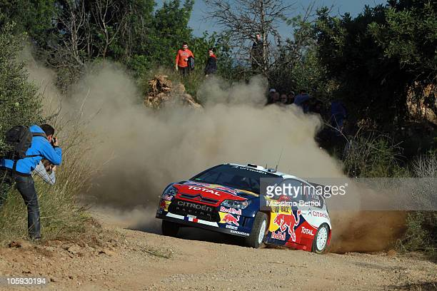 Sebastien Loeb of France and Daniel Elena of Monaco compete in their Citroen C4 Total during the Shakedown of the WRC Rally of Spain on October 21...
