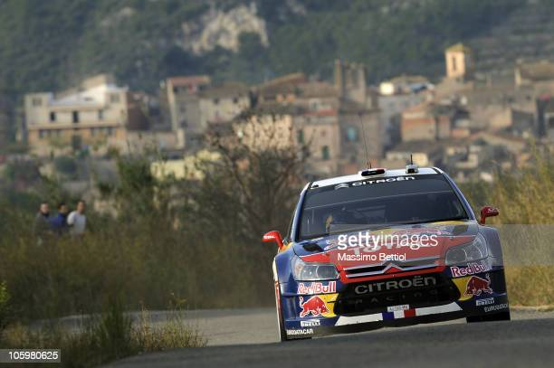 Sebastien Loeb of France and Daniel Elena of Monaco compete in their Citroen C4 Total during Leg 2 of the WRC rally of Spain on October 23, 2010 in...