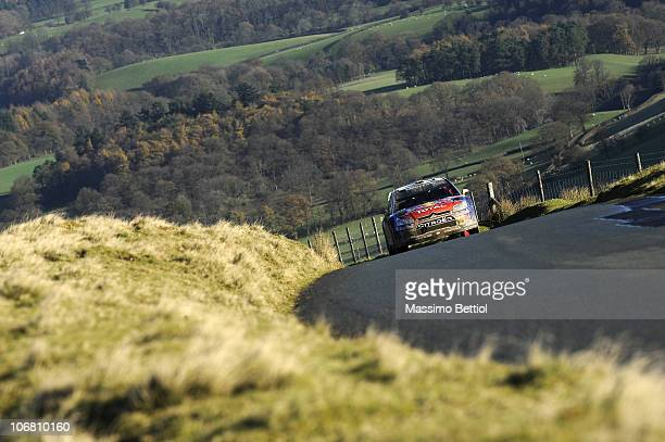 Sebastien Loeb of France and Daniel Elena of Monaco compete in their Citroen C4 WRT during Leg 2 of the WRC Wales Rally GB on November 13 2010 in...