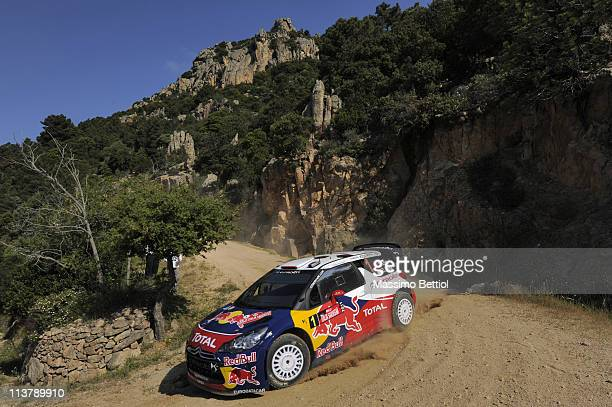 Sebastien Loeb of France and Daniel Elena of Monaco compete in their Citroen Total WRT Citroen DS3 WRC during the Shakedown of the WRC Rally d'Italia...