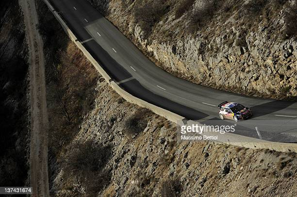 Sebastien Loeb of France and Daniel Elena of Monaco compete in their Citroen Total WRT Citroen DS3 WRC during the WRC Rallye MonteCarlo on January 20...