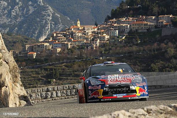 Sebastien Loeb of France and Daniel Elena of Monaco compete in their Citroen Total WRT Citroen DS3 WRC during Day Five of the WRC Rallye MonteCarlo...