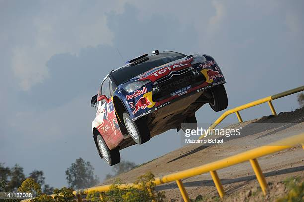 Sebastien Loeb of France and Daniel Elena of Monaco compete in their Citroen Total WRT Citroen DS3 WRC during Day Two of the WRC Rally Mexico on...