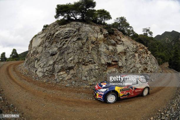 Sebastien Loeb of France and Daniel Elena of Monaco compete in their Citroen Total WRT Citroen DS3 WRC during the Shakedown of the WRC Rally...