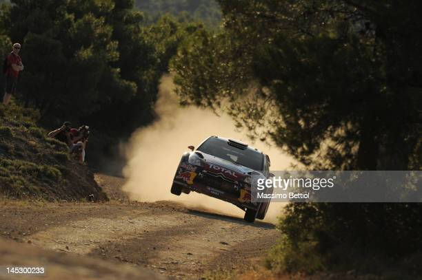 Sebastien Loeb of France and Daniel Elena of Monaco compete in their Citroen Total WRT Citroen Ds3 WRC during Day One of the WRC Rally Acropolis on...