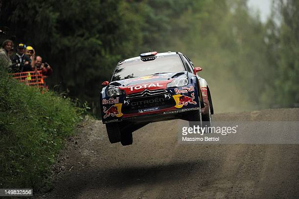 Sebastien Loeb of France and Daniel Elena of Monaco compete in their Citroen Total WRT Citroen DS3 WRC during Day 3 of the WRC Rally Finland on...