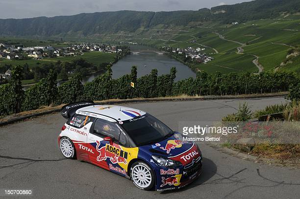 Sebastien Loeb of France and Daniel Elena of Monaco compete in their Citroen Total WRT Citroen Ds3 WRC during Day 1 of the WRC Rally Germany on...