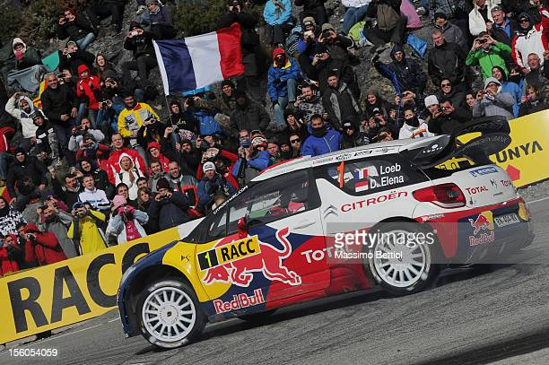 Sebastien Loeb of France and Daniel Elena of Monaco compete in their Citroen Total WRT Citroen DS3 WRC during Day Three of the WRC Spain on November...
