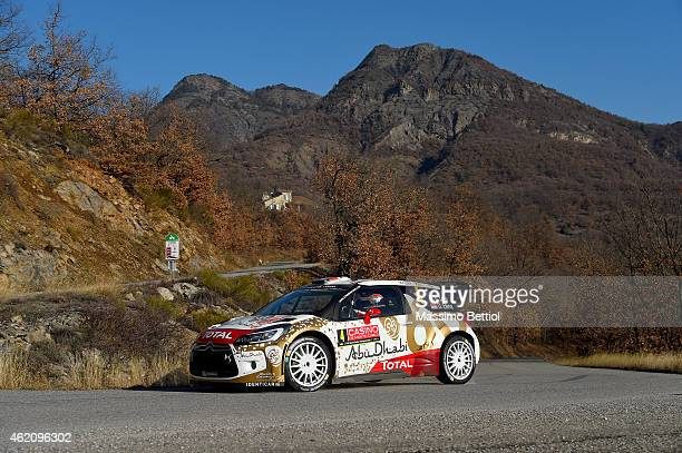 Sebastien Loeb of France and Daniel Elena of Monaco compete in their Citroen Total Abu Dhabi WRT Citroen DS3 WRC during Day Three of the WRC...