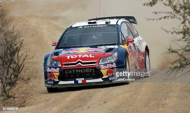Sebastien Loeb of France and Daniel Elena of Monaco compete in their Citroen C 4 Total during the Shakedown of the WRC Rally Mexico 2010 on March 5,...