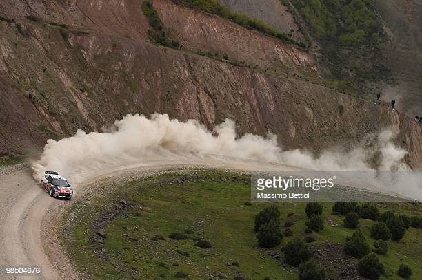 Sebastien Loeb of France and Daniel Elena of Monaco compete in their Citroen C4 Total during Leg 1 of the WRC Rally of Turkey on April 16 2010 in...