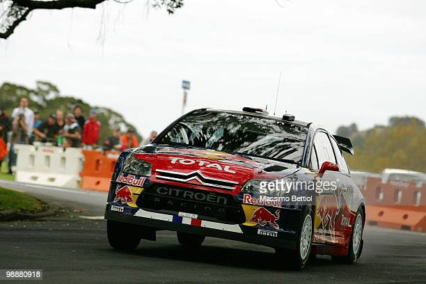 Sebastien Loeb of France and Daniel Elena of Monaco compete in their Citroen C4 Total during the Shakedown of the WRC Rally of New Zealand on May 6,...