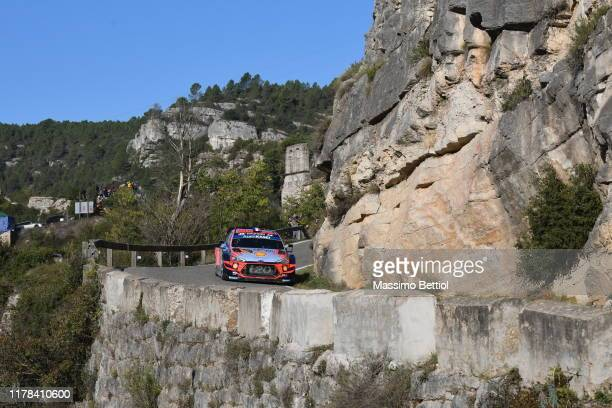 Sebastien Loeb of France and Daniel Elena of Monaco compete with their Hyundai Shell Mobis WRT Hyundai i20 Coupe WRC during Day Two of the FIA WRC...