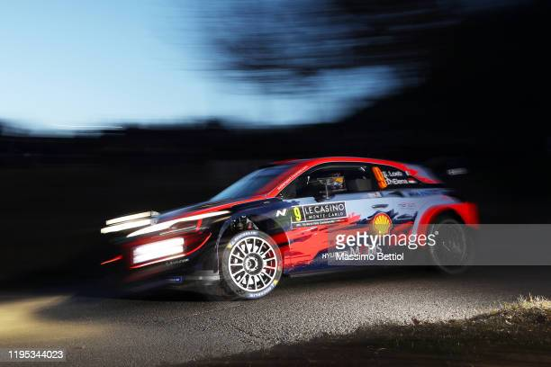 Sebastien Loeb of France and Daniel Elena of Monaco compete with their Hyundai Shell Mobis WRT Hyundai i20 Coupe WRC during the Shakedown of the FIA...