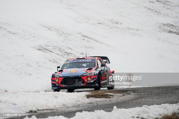 Sebastien Loeb of France and Daniel Elena of Monaco compete with their Hyundai Shell Mobis WRT Hyundai i20 Coupe WRC during Day Two of the FIA World...